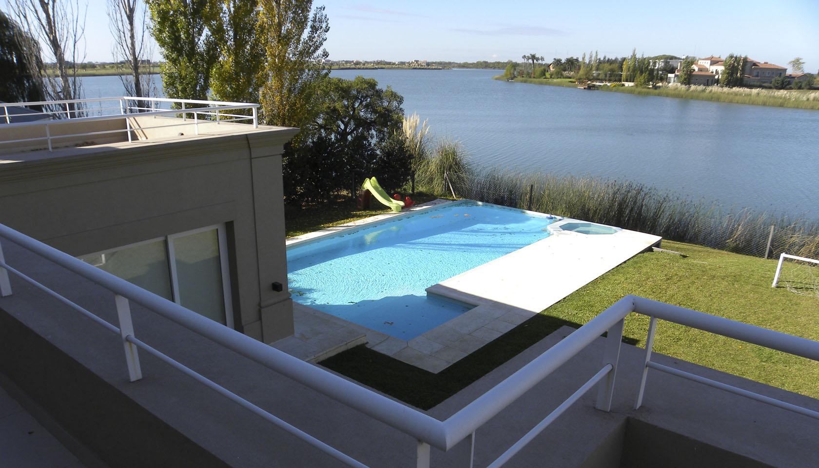 casas con vista al lago, pileta en casas modernas, arquitectura y paisaje