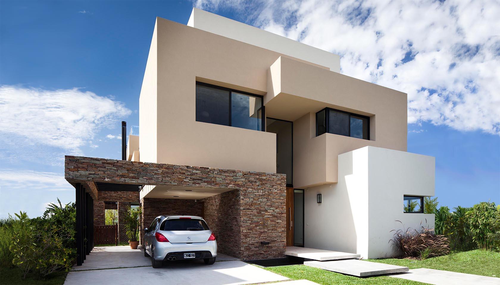 casas con revestimiento de piedra, casas modernas