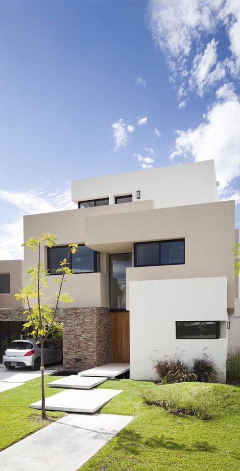 apilamiento de volúmenes arquitectónicos, casas minimalistas