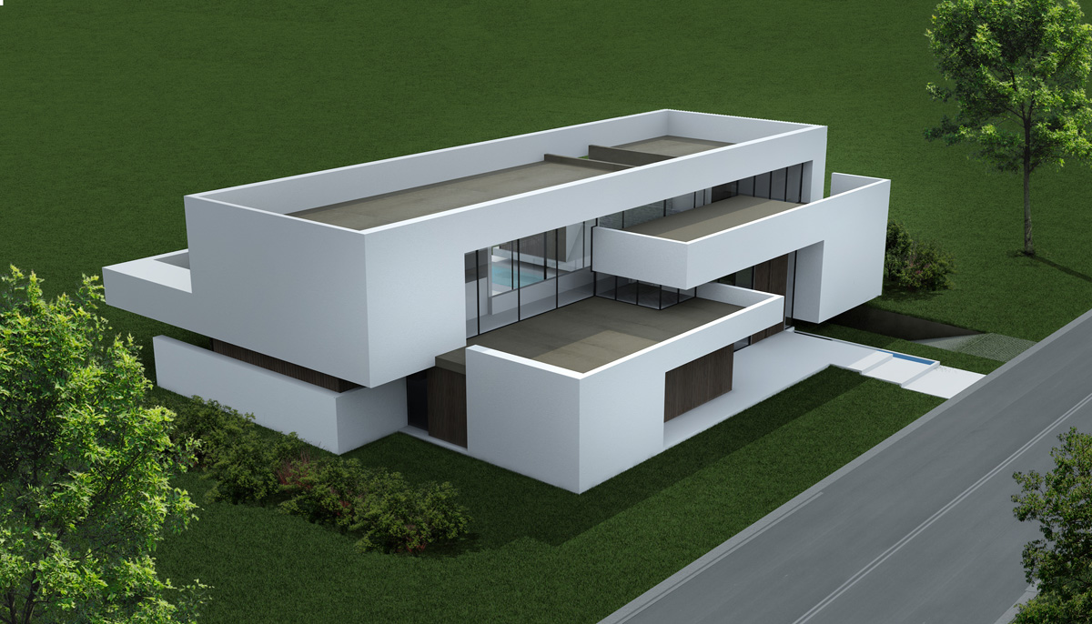 desfasaje de volúmenes, arquitectura contemporánea, casas blancas modernas