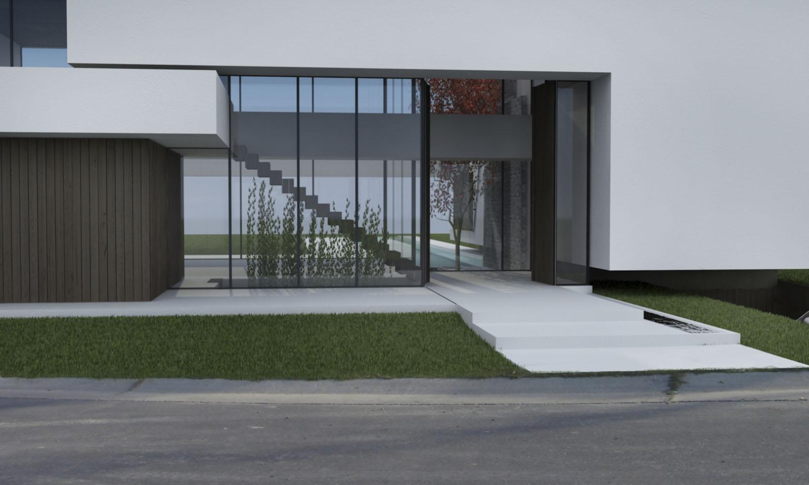 diseño de halles, ingresos de casas modernos, halles doble altura, fachadas vidriadas en casas
