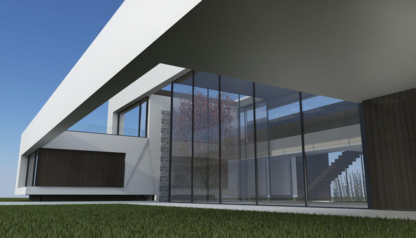 cinta continua en arquitectura, estructuras minimalistas, jardines internos, living triple altura