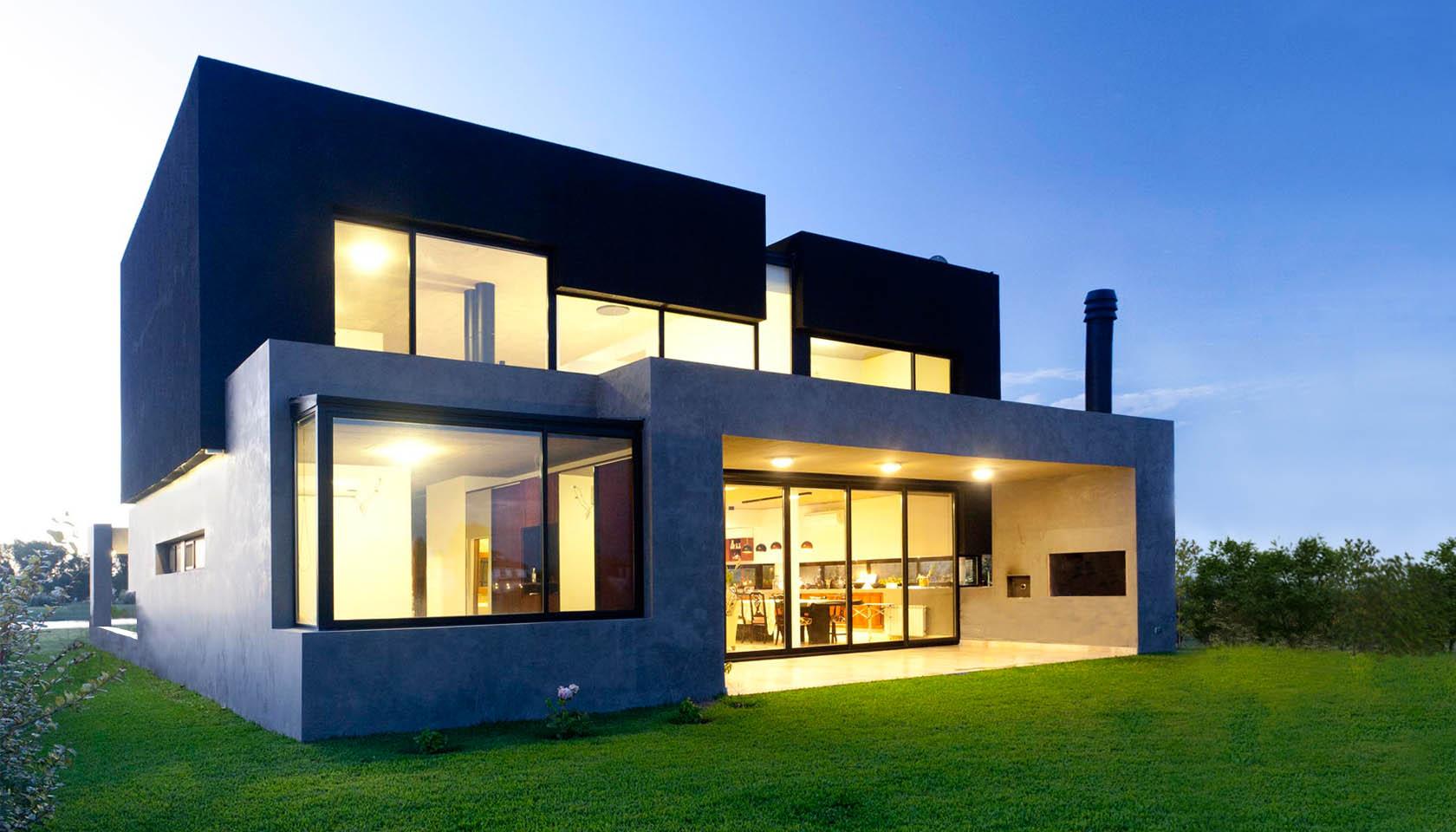 casas negras, fachadas de tarquini, parrillas en casas modernas