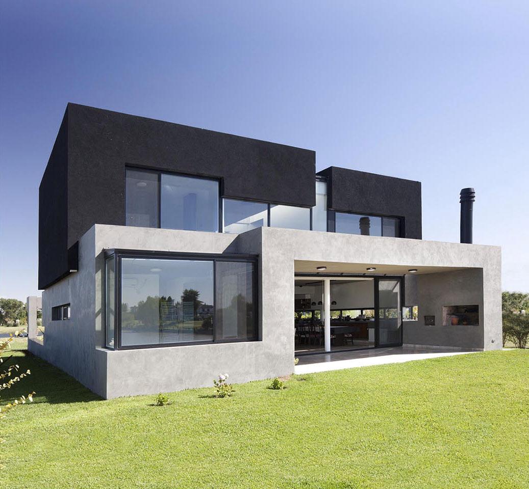 casas modernas, fachadas con dos materiales