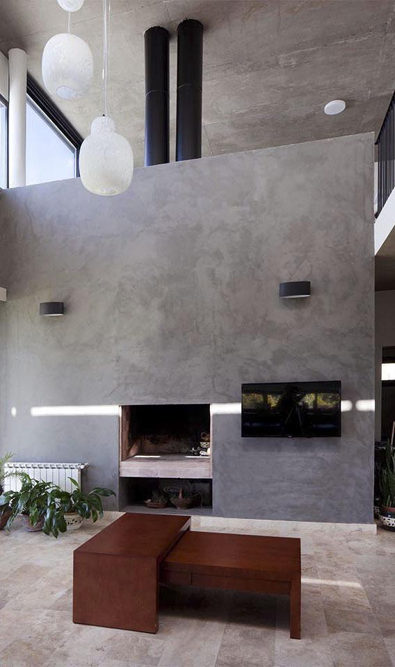 chimeneas modernas, revestimiento cementicio interior, interiores austeros