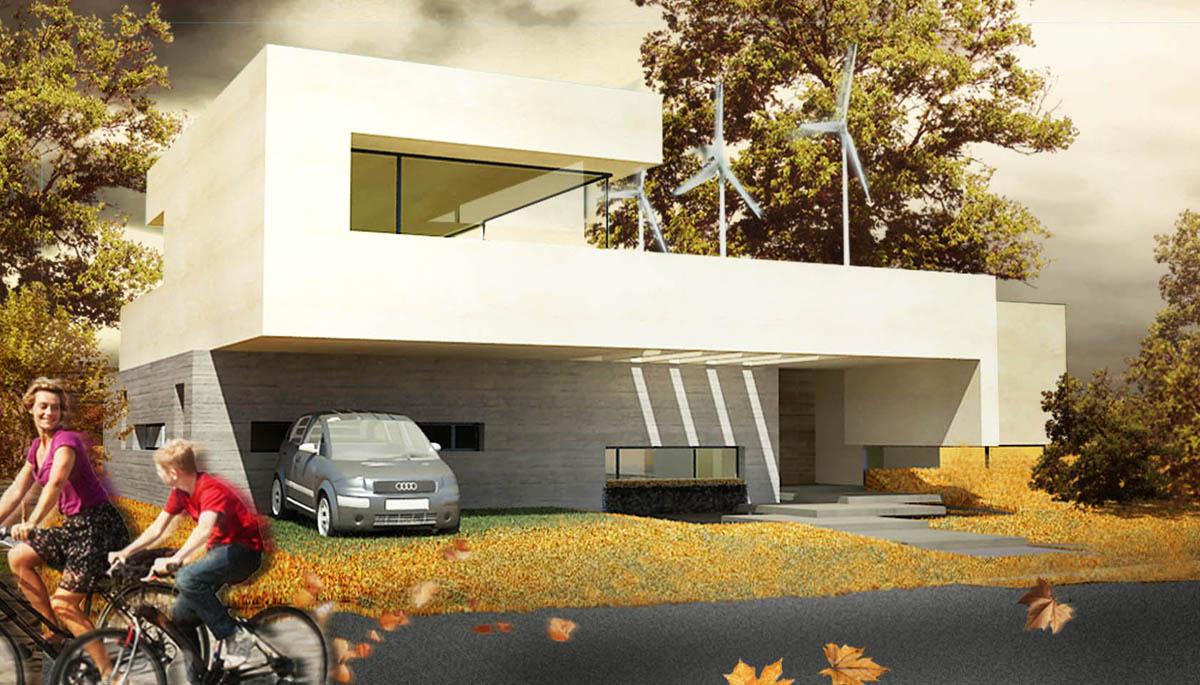 arquitectura sustentable, arquitectura minimalista, volúmenes de hormigón, fachadas modernas