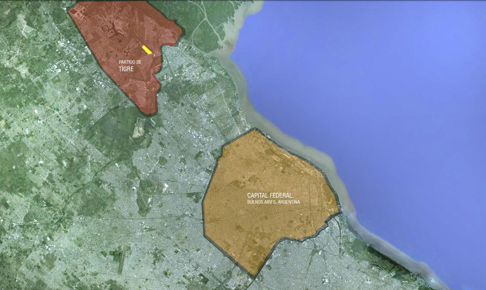Plano de implantación de fabrica en Parque industrial tigre, Buenos Aires
