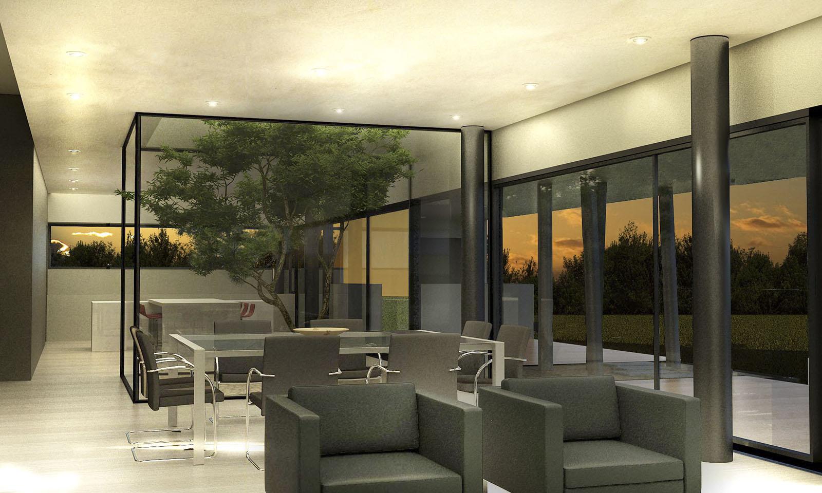 jardines interiores, árbol en comedor, interiores contemporáneos