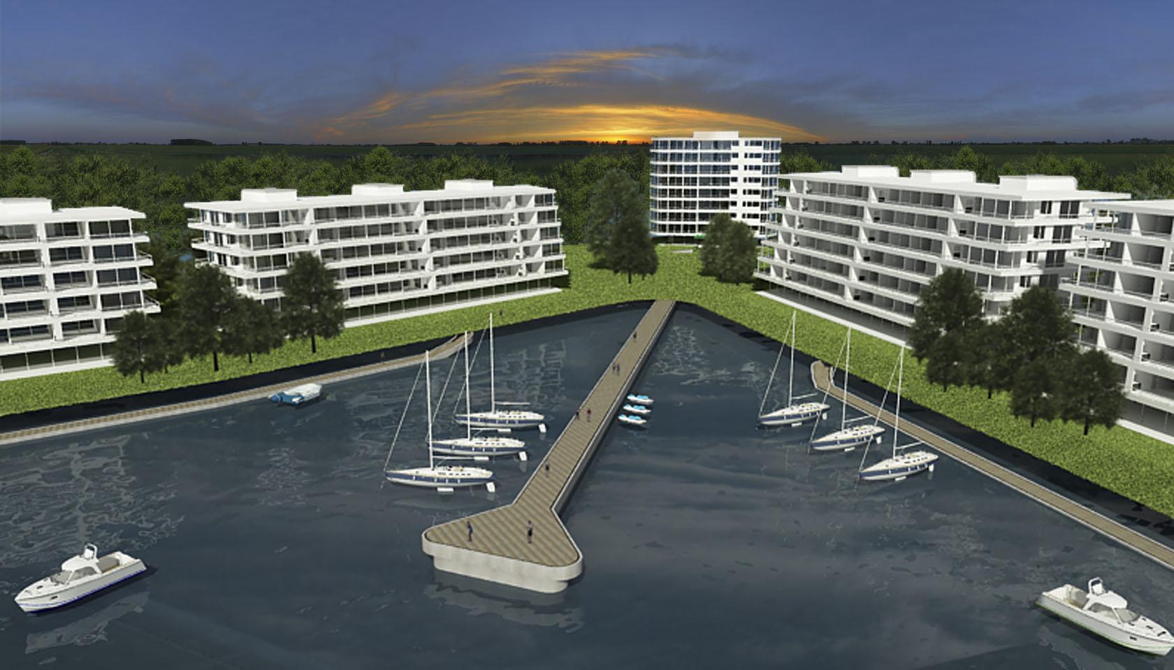 Diseño de muelles, edificios con muelles al lago