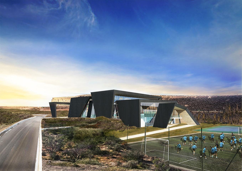 Edificios negros, grandes cubiertas en edificios deportivos, arquitectura en comodoro Rivadavia