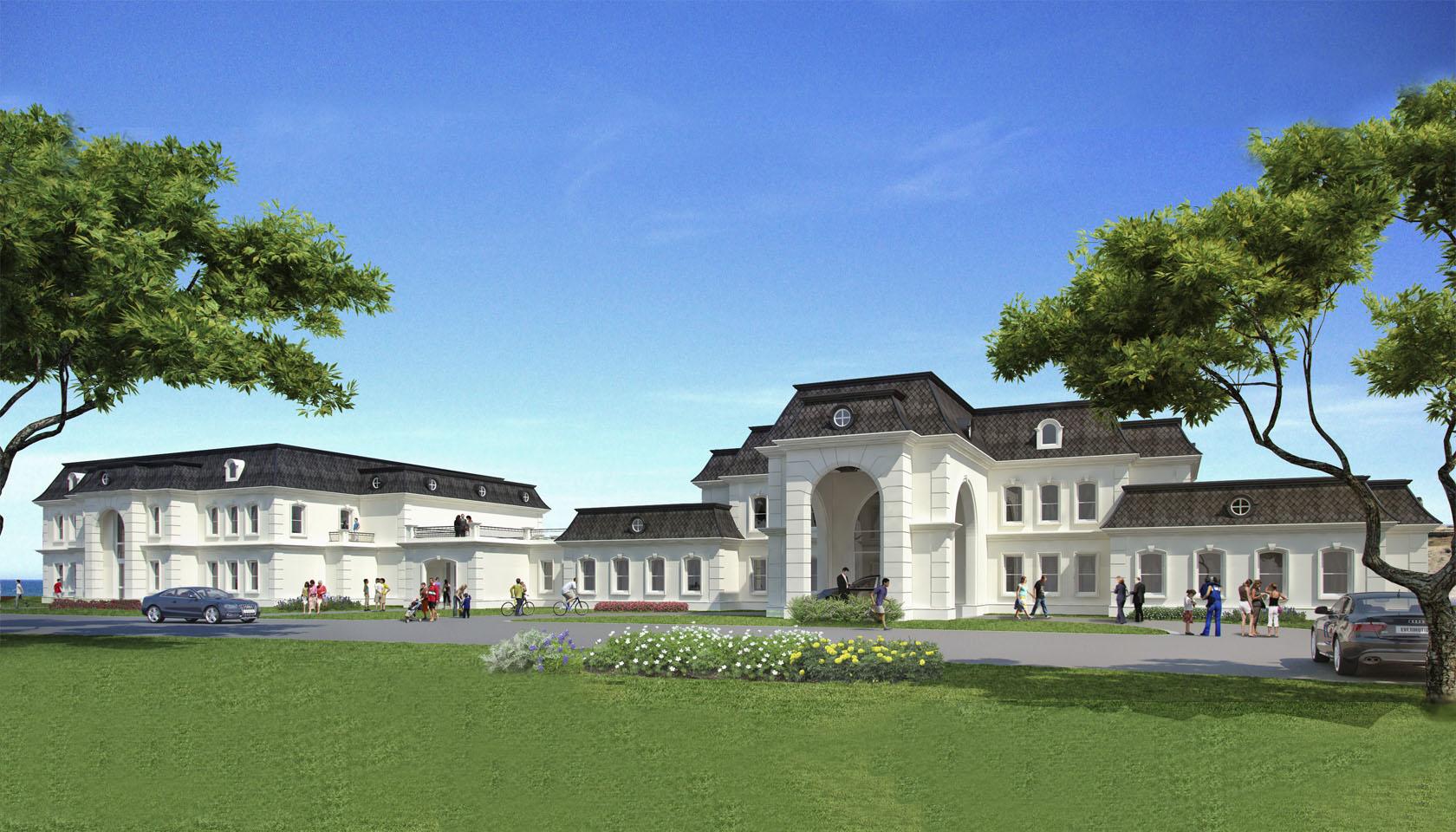 Arquitectura neoclásica francesa. Diseño de club house neoclásico francés, arquitectura con mansardas.