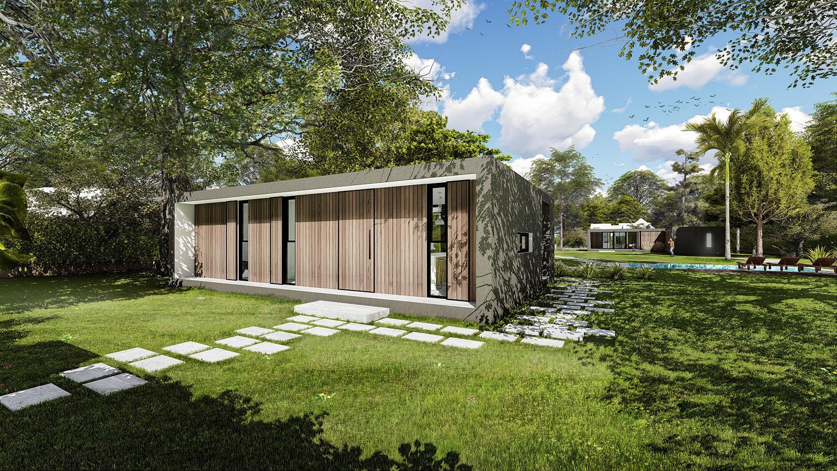 Casas modernas modulares, casas minimalistas con revestimientos cálidos