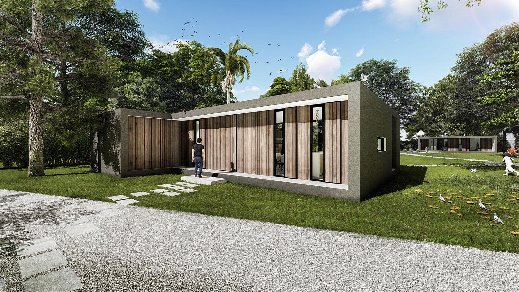 Casas con fachada de madera, casas minimalistas, construcción en seco
