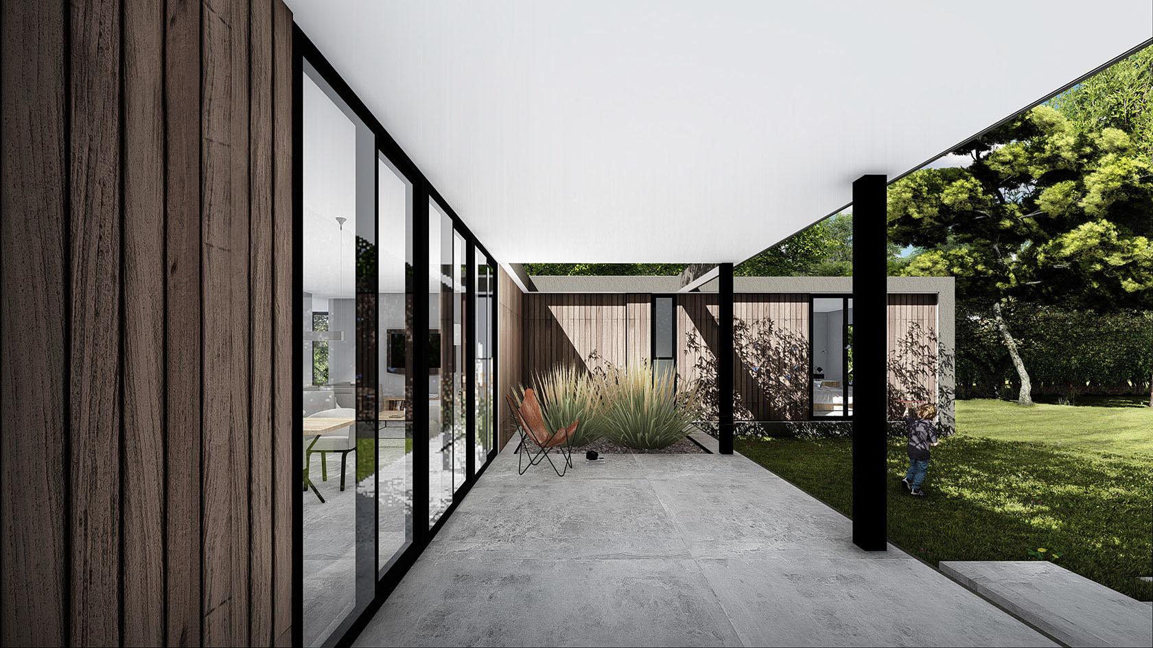 Galerías modernas, casas modernas con grandes jardines