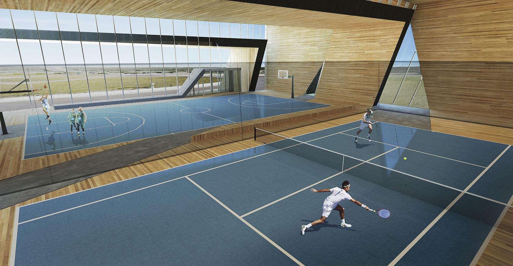 Diseño de grandes cubiertas modernas, continuidad arquitectónica, interiores cálidos en complejos deportivos