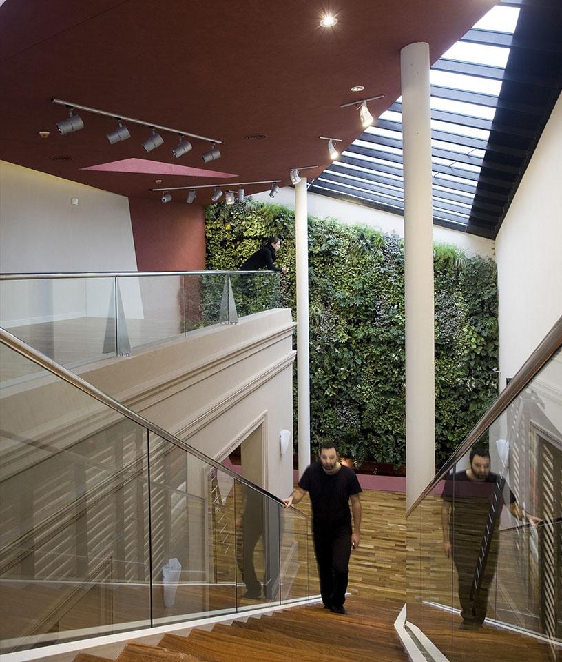 Diseño de escaleras modernas, barandas de vidrio en locales, diseño de jardines verticales, lucarnas interiores