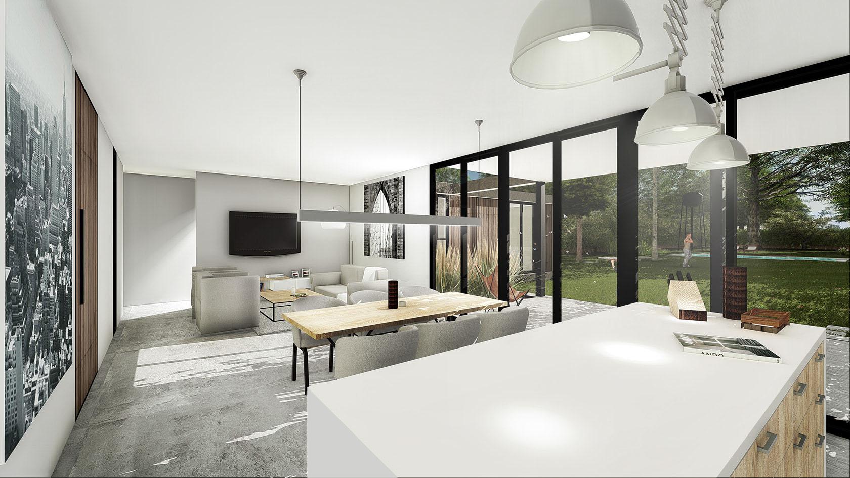 Diseño interior en casas, solados de cemento alisado a la vista, integración del paisaje en casas modernas