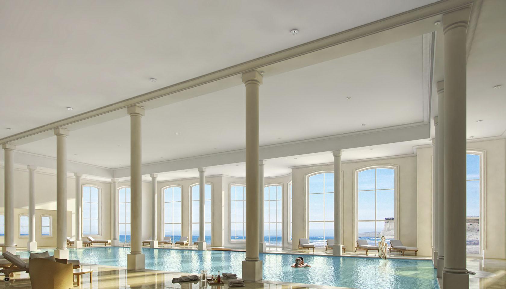 Diseño de interiores de lujo, diseño de piletas de grandes piletas interiores, interiores con diseños neoclásicos.