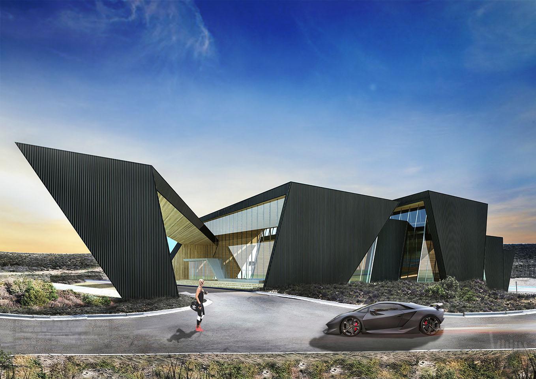 Diseño de fachadas en chapa, edificios negros, grandes frentes vidriados, arquitectura deportiva contemporánea
