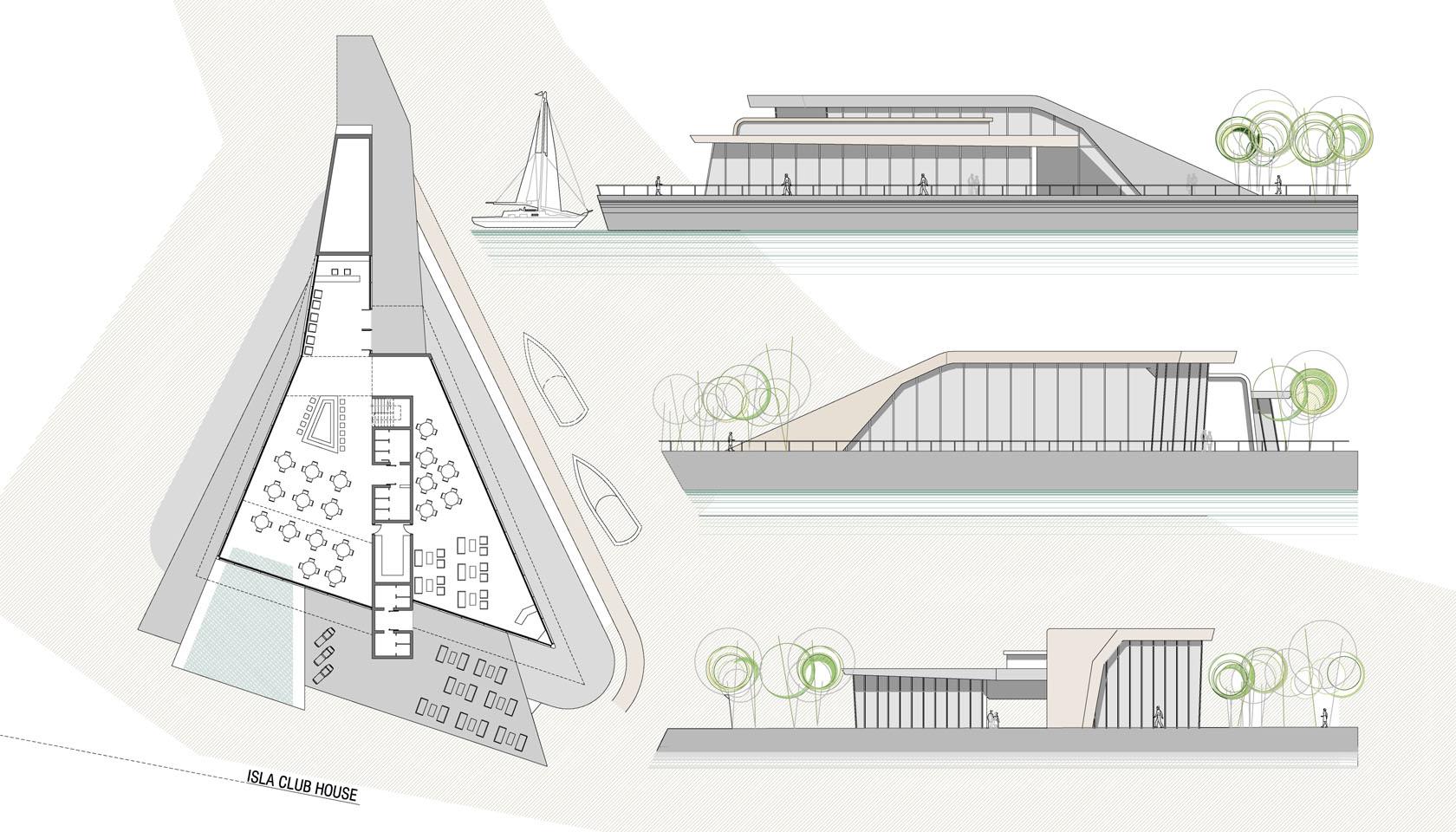 Diseño de club house modernos, arquitectura contemporánea, edificios sobre el agua