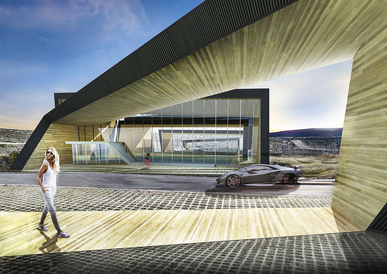 Ingresos modernos a edificios deportivos, fachadas con madera , vidrio y chapa