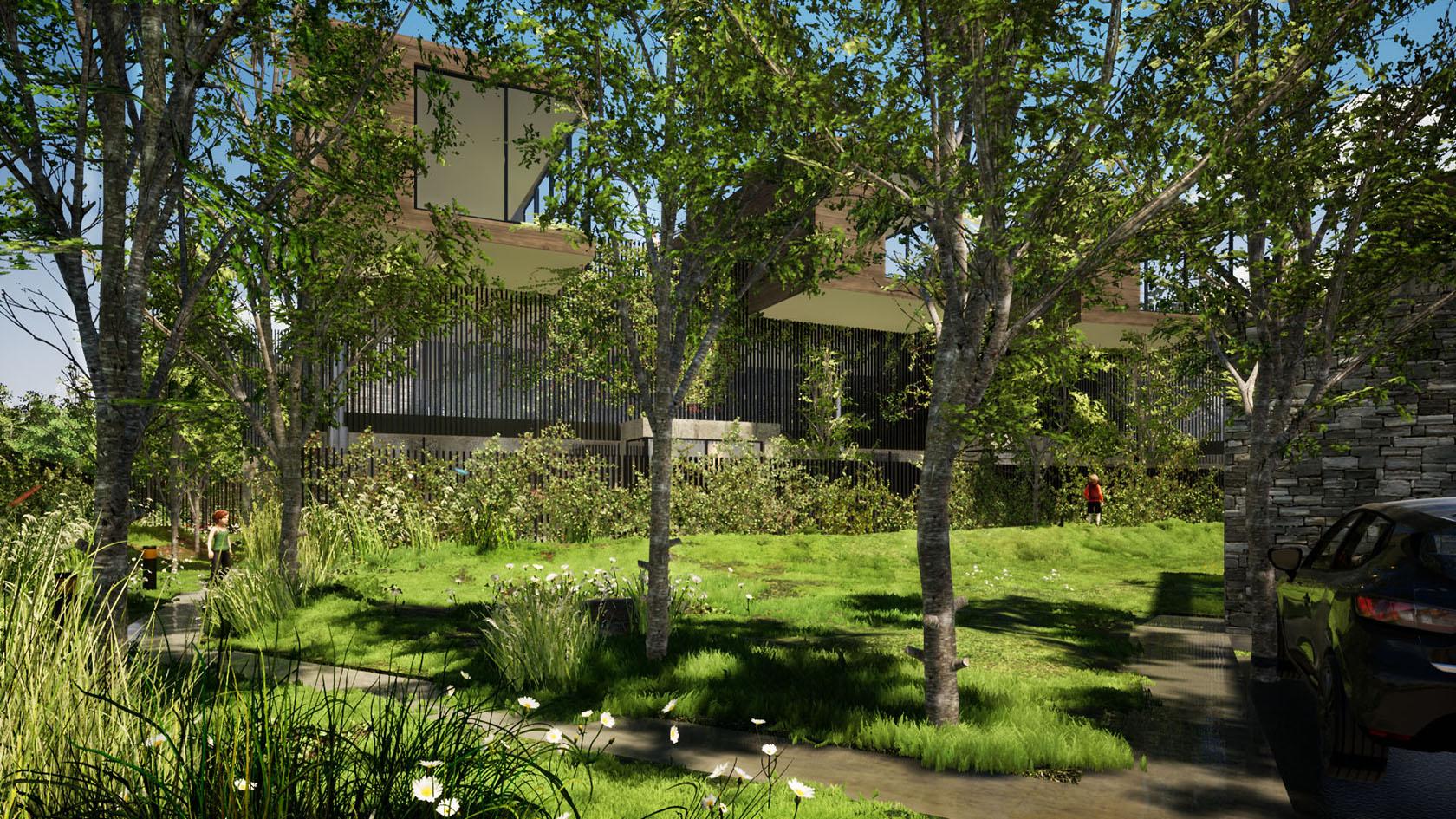 vista parque y viviendas